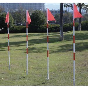Baliza (slalom) branco e vermelho com ponteira de aço reclinável e bandeira vermelha Pista e Campo
