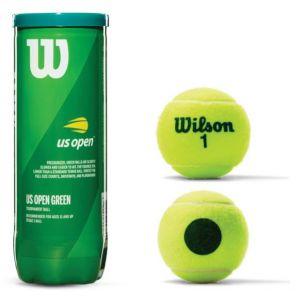 Bolinha/bola de tênis de campo estágio 1 (verde 25%) iniciantes Wilson US Open - tubo com 3 und