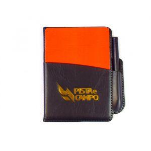 Cartões para árbitro de futebol - caderneta, marcadores de papel e par de cartões (vermelho e amarelo) Pista e Campo