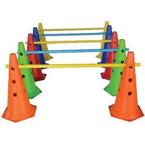 Cone de sinalização 50cm de PVC com furos para hastes com base hexagonal Pista e Campo