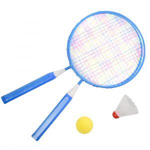Kit de badminton infantil com 02 raquetes de aço, 01 volante e 01 bola de espuma Pista e Campo