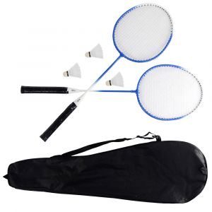 Kit de badminton com 02 raquetes de aço e 03 volantes Pista e Campo