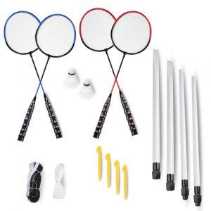 Kit de badminton com 04 raquetes de aço, 03 volantes, postes de aço e rede Pista e Campo PREVIEW