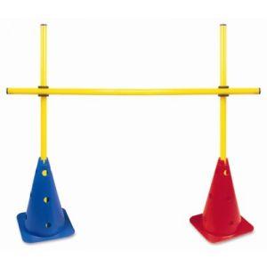Obstáculo de PVC para treinamento Pista e Campo (2 cones furados 30cm e 03 hastes de 1m e 02 presilhas) - Altura ajust. até 1m
