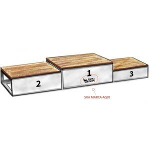 Podium de aço galvanizado e madeira para premiação esportiva de 3 equipes Pista e Campo
