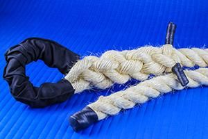 Corda naval torcida de eco-sisal para treinamento funcional de escalada (em academia) com 4m x 36mm Pista e Campo