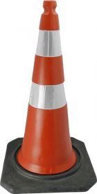 Cone de sinalização semi flexível refletivo 75cm com base de borracha Telbras