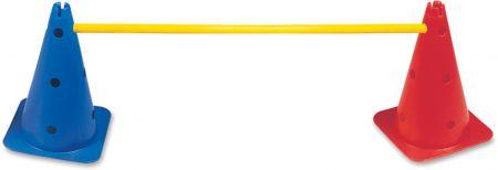 Obstáculo de PVC para treinamento Pista e Campo (2 cones furados 38cm e 1 haste 1m desmontável) - Altura ajust. até 38cm