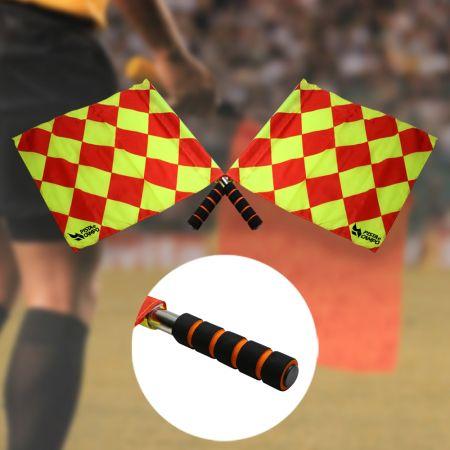 Bandeira xadrez de árbitro auxiliar de futebol com cabo metálico Pista e Campo - Par