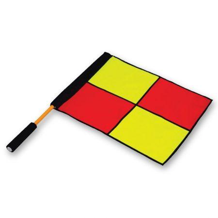 Bandeira xadrez de árbitro auxiliar de futebol com cabo de alumínio premium Pista e Campo
