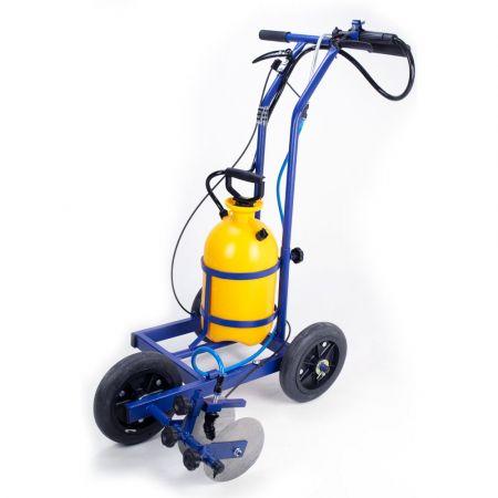 Carrinho ajustável para demarcar gramados e pistas com tinta Pista e Campo
