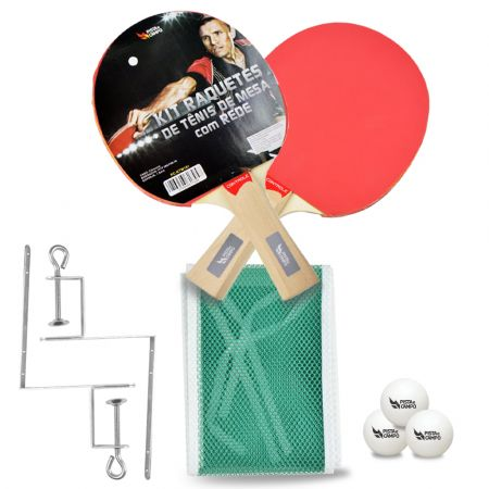 Kit de tênis de mesa com rede, raquetes e bolinhas Pista e Campo preview