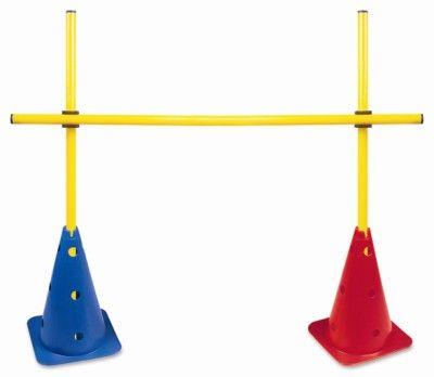 Obstáculo de PVC para treinamento Pista e Campo (2 cones furados 38cm e 03 hastes de 1m desmontáveis e 02 presilhas) - Altura ajust. até 1m